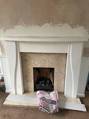 £30 • Buy Wooden Fire Place Surround,  Marble Back Panel, Hearth And Gas Fire, Brass Fret