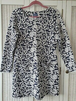 £3.19 • Buy Ladies Joules Size 12 Warm Tunic Dress Jaquard Floral Print Navy White