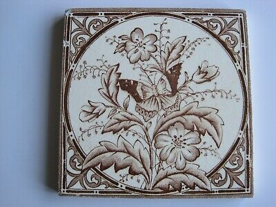 £20 • Buy ANTIQUE VICTORIAN WEDGWOOD?  TRANSFER PRINT BUTTERFLY & FLOWER WALL TILE No.18