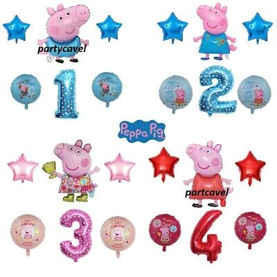 £4.59 • Buy 6pcs Large Peppa George Daddy Pig Age Number Birthday Party Decoration Balloons.