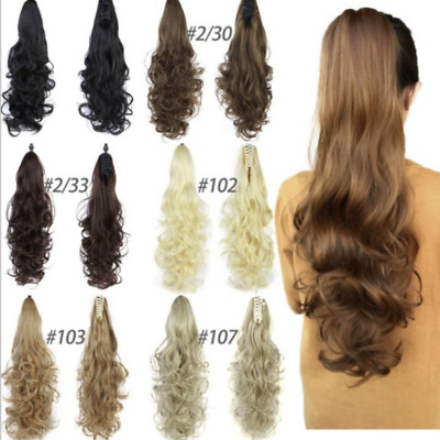 £8.99 • Buy Claw On Ponytail Clip In Pony Tail Wavy Curly Hair Extensions Look Human Hair