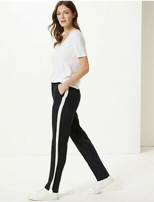 £12.99 • Buy M&S Women's Navy Mix Freya Relaxed Side Striped Trousers ~ Size 22 Short - New