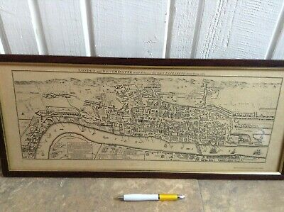 £80 • Buy Vintage Framed Map Of 16th Century London And Westminster