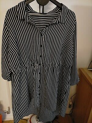£8 • Buy Yours  Fit And Flare Stripes High Low Dress, Black  Elasticated Waist 26/28