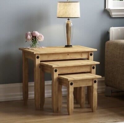 £30 • Buy Corona Nest Of Tables Piccolo Mexican Solid Pine Side End By Mercers Furniture®