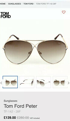 AU55.16 • Buy Tom Ford Peter Aviator-Style Sunglasses TF142 Gold