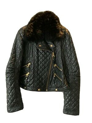 £39.99 • Buy Rizal Black Quilted Biker Jacket With Gold Detail And Detachable Fur Collar, Siz