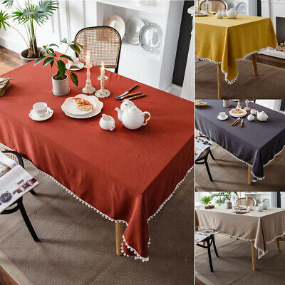AU31.23 • Buy Rectangle Cotton Tablecloth Pom Pom Table Cloth Cover Dining Party Home Decor