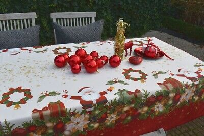£14.82 • Buy Tablecloth Provence 130x150 CM White Red Christmas From France Non-Iron