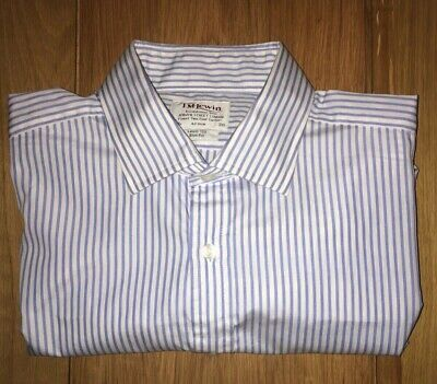 £4.20 • Buy TM Lewin Shirt 16.5 - Slim Fit - BNWOT -Blue And White Stripe - Mens Double Cuff