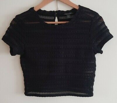 £3.60 • Buy TOPSHOP Sheer Black Striped Black Top Tshirt Tee / S 6 8 / Party Going Out