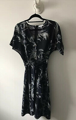 £9.99 • Buy Warehouse Blue Palm Tree Button Front Tea Dress Size-10 Land Girl WW2 Worn Once