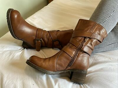 £22 • Buy Dune Tan Leather Mid Calf Biker Style Boots Size 7 EUR 40 With Box