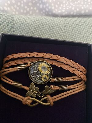 £0.99 • Buy You Are My Sunshine Brown Leather Wrap Bracelet Friendship New In Box