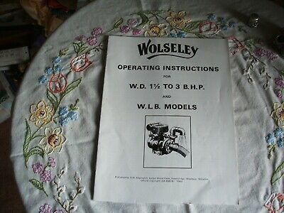 £6.50 • Buy Operating Instructions For Wolseley W.D.1.5 TO 3 B.h.p And W.L..models