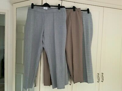 £6.99 • Buy 3 Pairs Of M&s Trousers. 2 Grey 1 Mink. Size 22 Short Leg.