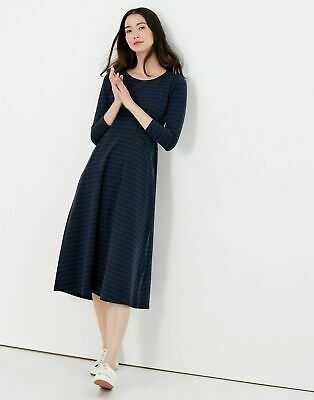 £10 • Buy Joules Womans Cassidy Jersey Midi Dress Navy Green Stripe Generous Size 8. New