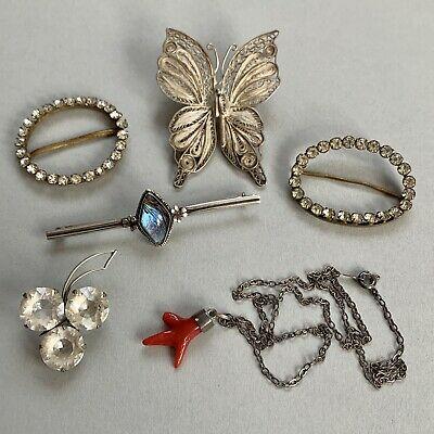 £18 • Buy Vintage Antique Costume Jewellery Joblot Solid Silver Brooches Coral Pendant