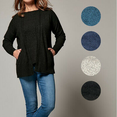 £13.95 • Buy Ex M&Co Womens Edge To Edge Knitted Cardigan Pocket Side Black Navy Grey Teal