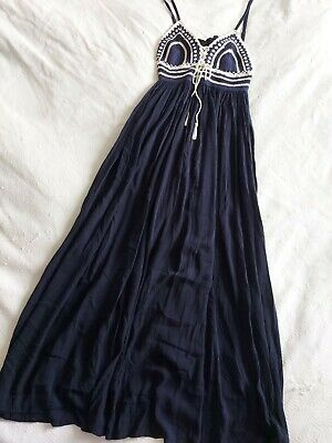 £35 • Buy Monsoon Navy And Cream Summer Dress, Crochet Top-size 12-new With Tags