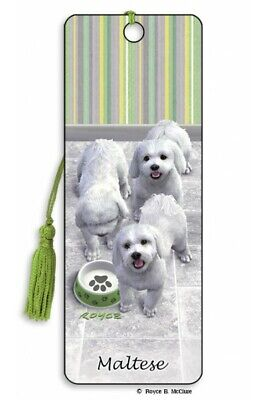 £4.29 • Buy Maltese Dog Gift 3D Bookmark Small White Puppy Paw Animal Present Him Her Kids