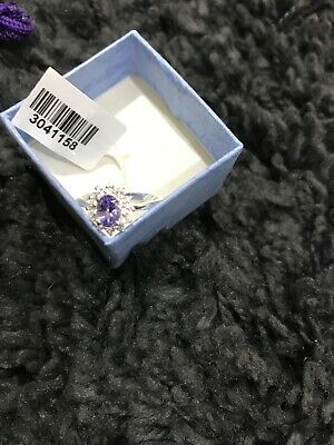 £35 • Buy Tanzanite & Natural Zircon 1 Ct Platinum Plated Sterling Silver Ring BN Size M
