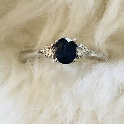 £1150 • Buy 18ct White Gold Tanzanite And 0.16ct Diamonds Engagement Cluster Ring UK Size L
