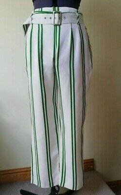 £2.99 • Buy Topshop Green Striped Linen Mix Belted Tapered Trousers 14 Tailored Office Smart
