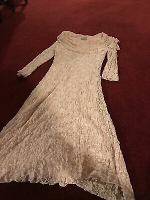 £5 • Buy MIchael Ambers Ladies Beautiful Ivory Beige Lace Overlay Occasion Dress Size 12
