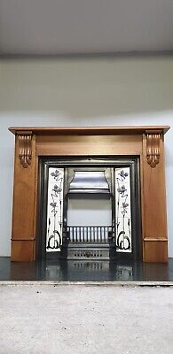 £395 • Buy 15 Cast Iron Fireplace Surround Fire Old Tiled Insert Victorian Style Pine Tiles