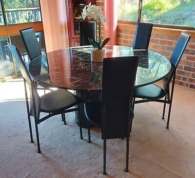 AU950 • Buy Black & White Round Marble Dining Table With Six Leather Chairs
