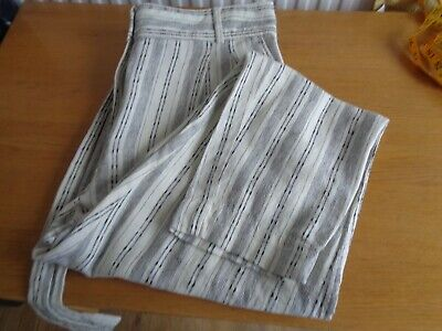 £5 • Buy Ladies Marks And Spencer Striped Linen Trousers Size 16 Bnwot