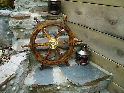 £64.95 • Buy Ships Wheel Mango Wood With A Antique Finish 24  Across - Brass Maritime Pirate