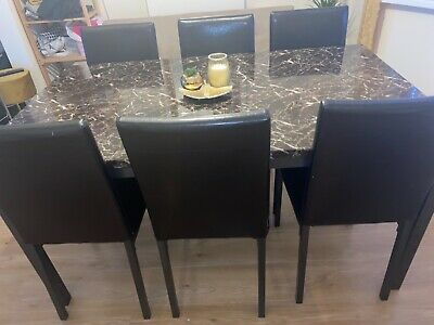 £135 • Buy Marble Effect Dining Table And 6 Chairs