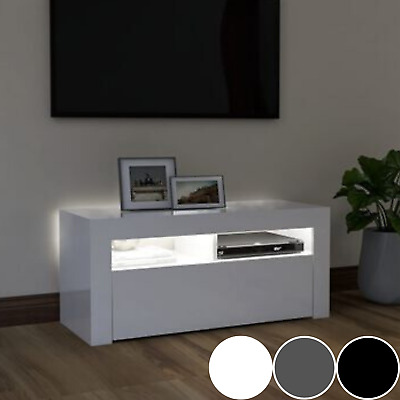 £69.99 • Buy White High Gloss TV Unit With LED Lights Cabinet Storage Display Table Stand