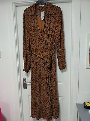£8.10 • Buy Next Rust Floral Long Sleeve Belted Midi Wrap Dress Size 22 BNWT RRP £38