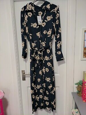 £6.10 • Buy Next Navy Long Sleeve Floral Button Down Belted Midi Shirt Dress Size 16 BNWT