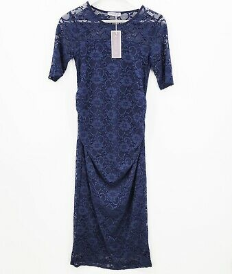 AU33.37 • Buy BlueBelle Maternity Dress Womens 10 Blue Floral Lace Short Sleeve Bodycon NWT