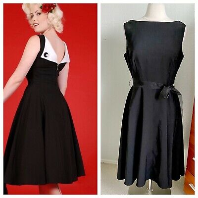 AU53.41 • Buy Bettie Page Retro Fit & Flare Black Dress With Satin