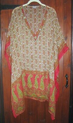 £4.50 • Buy Sheer Cover Up/top/kaftan - Floaty, One Size - Cream/green/red Paisley Design