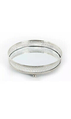 £4.99 • Buy Decorative Silver Metal Candle Plate Tray Perfume Display Mirror Glass Vintage
