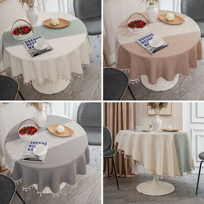 AU38.53 • Buy Jacquard Round Cotton Tassel Dining Room Tablecloth Kitchen Table Cloth Cover