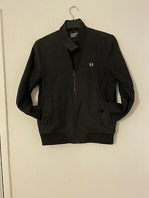 £25 • Buy Womens Harrington Style Jacket By Fred Perry In A Charcoal Grey Size 8