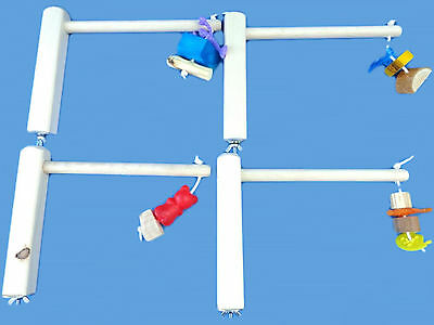 Lot Of 4 Cage Top Bird Perches,play Gyms With Chew Toys • 9.26£