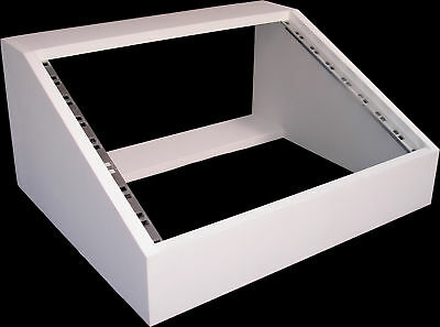 8u UNIT 19  INCH ANGLED DESK TOP RACK CABINET RECORDING STUDIO  IN WHITE PRIMER • 42.99£