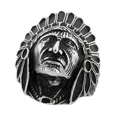 £9.93 • Buy Stainless Steel INDIAN CHIEF HEAD Ring