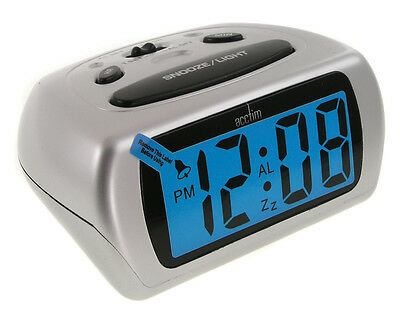 Acctim Silver Auric Alarm Clock Blue LCD Lighted Battery Operated • 14£