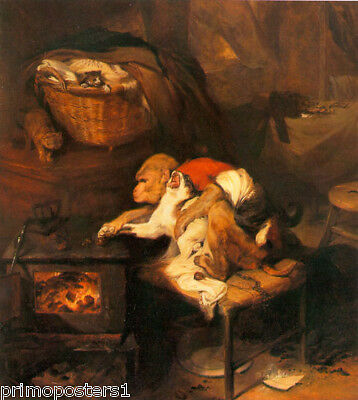 $58.50 • Buy The Cat's Paw Monkey Cat Animal Painting By Edwin Henry Landseer Repro