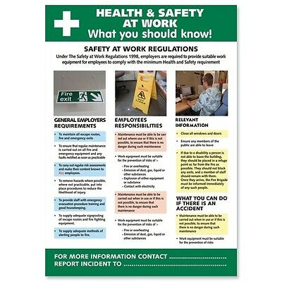 £11.69 • Buy Health And Safety At Work Poster W420 X H595mm (Ref HS106)