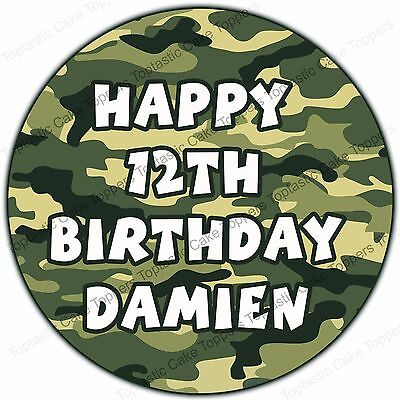 £4.65 • Buy Personalised Military Army Camouflage Edible Icing Birthday Party Cake Topper
